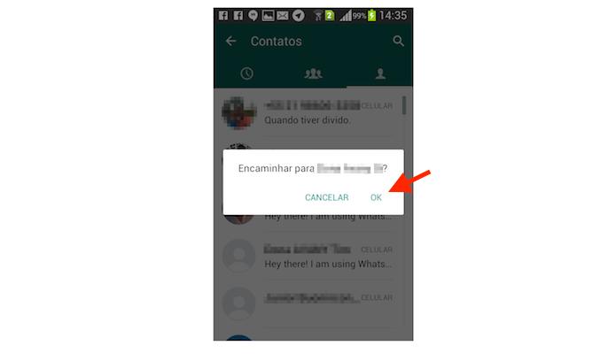 Encaminhando uma mensagem marcada com estrela para outro contato do WhatsApp para Android (Foto: Reprodução/Marvin Costa)