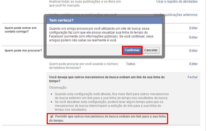 Facebook pede confirmação antes de mudar a configuração (foto: Reprodução/João Kurtz)