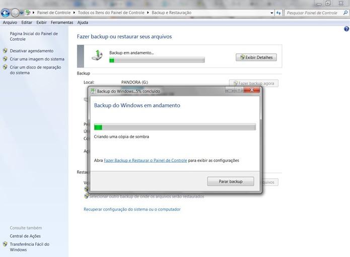 Acompanhe o progresso do registro do backup de restauração em seu HD externo (Foto: Reprodução/Daniel Ribeiro)