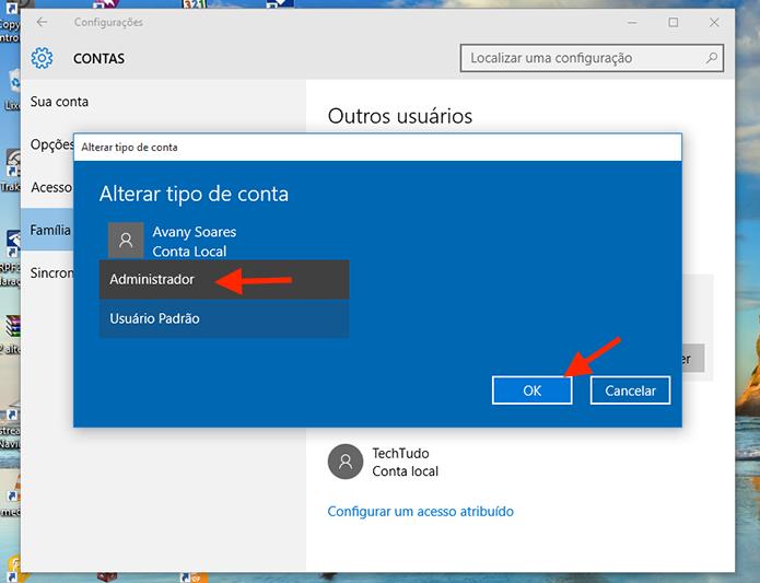 Tornando um usuário administrador do computador com Windows 10 (Foto: Reprodução/Marvin Costa)