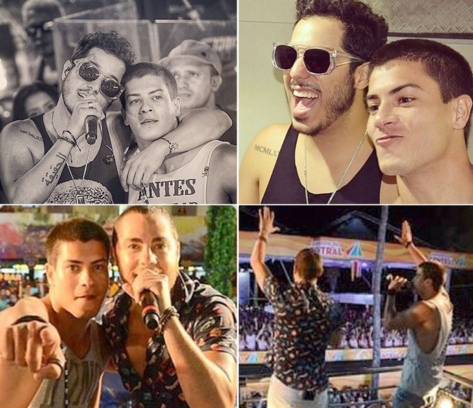 Arthur com os amigos Tomate e Levi Lima no carnaval de Salvador (Foto: Arquivo pessoal)