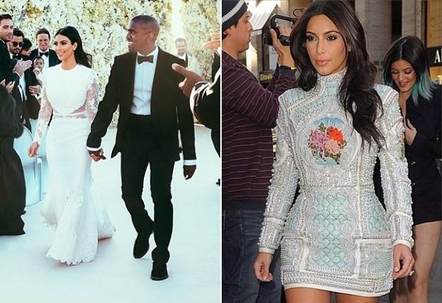 Kim Kardashian com vestido de noiva assinado por Riccardo Tisci e no ps-cerimnia, vestindo Balmain. (Foto: Reproduo / Instagram)