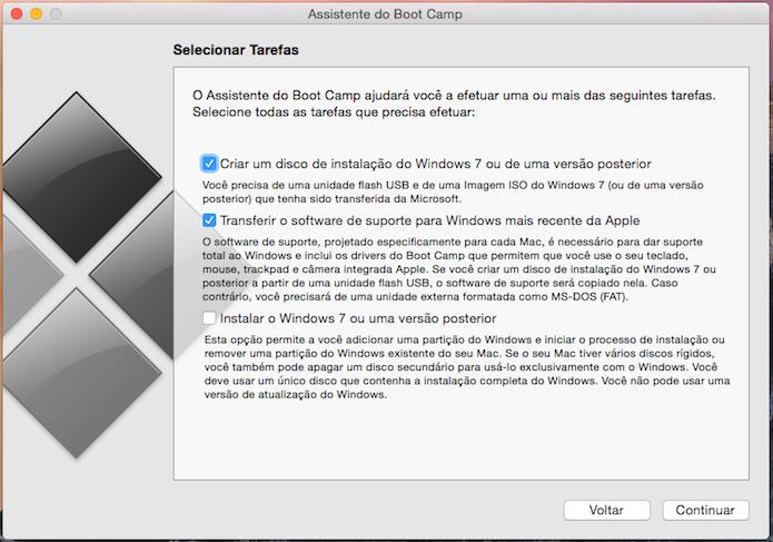 Configurando o Boot Camp para criar um pendrive de instalação do Windows (Foto: Reprodução/Edivaldo Brito)
