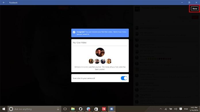Facebook Live pode salvar vídeos na galeria do computador ao fim da transmissão (Foto: Reprodução/Elson de Souza)