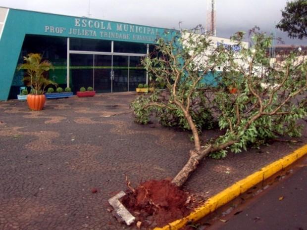 Vendaval deste domingo (22) deixou rastro de destruição em Taquarituba (Foto: Eros Alonso/Taquary News)