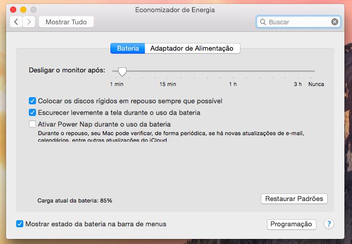 Configurações de energia do Mac OS X (Foto: Reprodução/Helito Bijora)