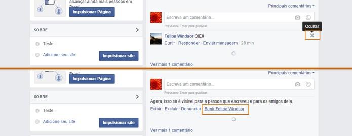Banir o usuário pelo comentário na página do Facebook (Foto: Reprodução/Barbara Mannara)