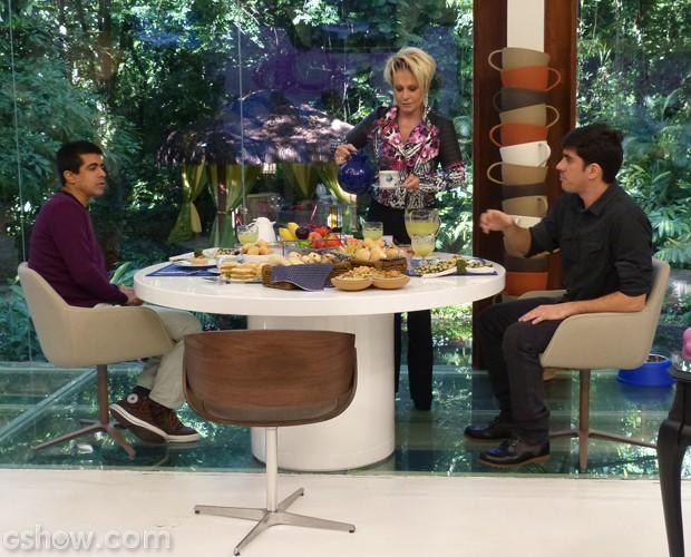 Ana Maria recebe Marcelo Adnet e Marcius Melhem no Mais Você (Foto: Mais Você/TV Globo)