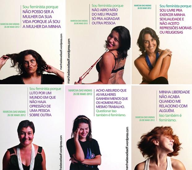 Cartazes de divulgação da Marcha das Vadias no DF, que será realizada neste sábado (26) (Foto: FeministaPorque/Marcha das Vadias-DF)