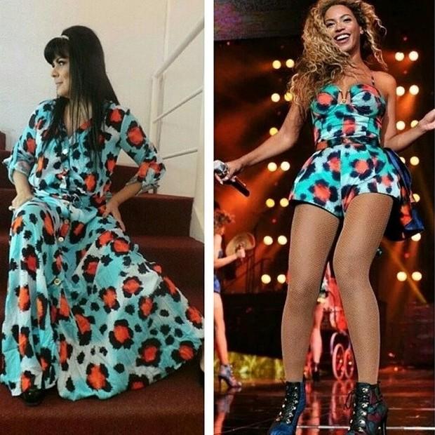 Mara Maravilha e Beyoncé com estampas iguais (Foto: Instagram/ Reprodução)