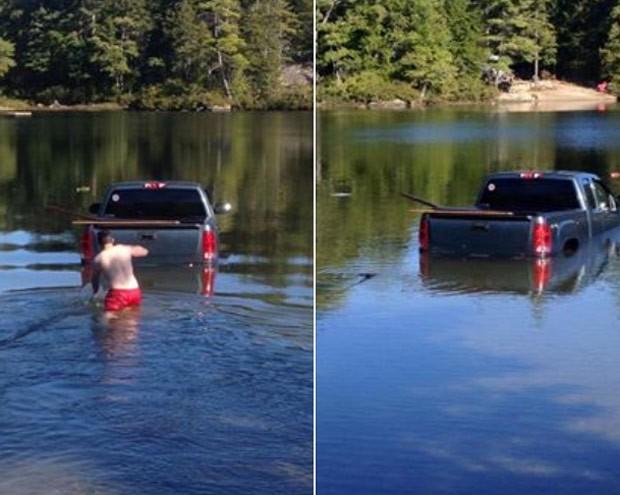 Cão desengatou picape e foi parar dentro de lago (Foto: Reprodução/Facebook/Ellsworth Police Department)