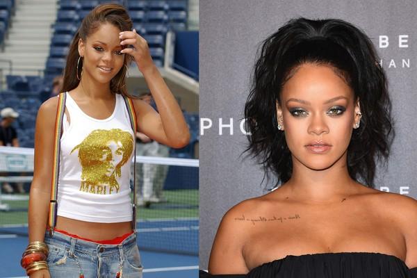 Rihanna em 2001 e 2017 (Foto: Getty Images)