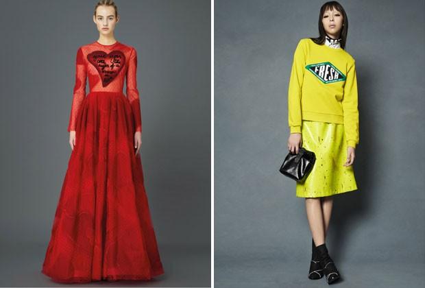 """Com a ajuda da artista italiana Giosetta Fioroni, a Valentino trouxe um vestido com a mensagem """"Os seus olhos são olhos de uma mulher apaixonada"""". Já a Opening Ceremony estampou: """"Fresco"""" (Foto: Divulgação)"""