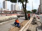 Trecho do canal 1 é interditado para obras do VLT em Santos, SP