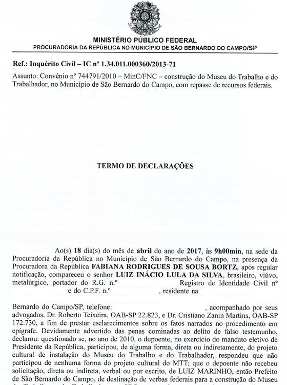 Trecho do depoimento de Lula à Procuradoria da República em São Bernardo do Campo (Foto: Reprodução)