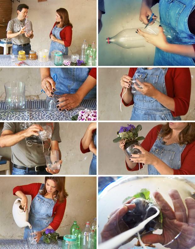 Vaso autoirrigável utiliza garrafas PET e cordão de náilon ou cadarço (Foto: Ricardo Custódio/TG)