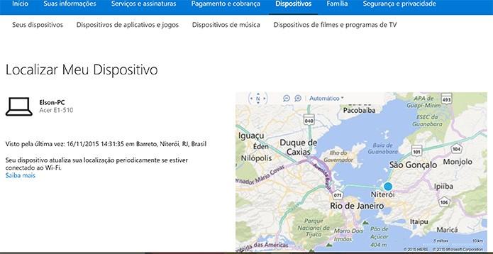 Microsoft pode exibir mais detalhes da última localização do PC com Windows 10 roubado ou perdido (Foto: Reprodução/Elson de Souza)