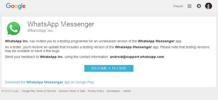 Página na Play Store do programa de testes do WhatsApp (Foto: Reprodução/Raquel Freire)