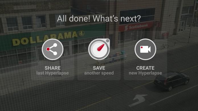 Microsoft Hyperlapse Mobile para Android oferece a opção de compartilhar, editar novamente ou gravar novo vídeo (Foto: Reprodução/Elson de Souza)