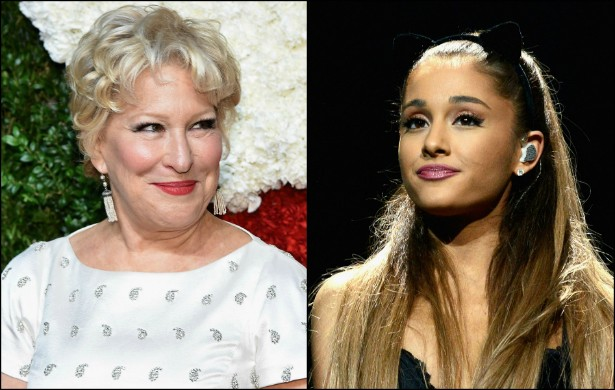 """BETTE MIDLER versus ARIANA GRANDE — Do alto de seus quase 70 anos de vida, a diva Bette Midler esculachou Ariana Grande, de 21, dizendo que esta tem uma """"voz alta bobinha"""". Ariana, por sua vez, fez jus ao sobrenome e respondeu ao insulto via Twitter: """"Bette sempre foi uma feminista que ajudou as mulheres a fazer a p**** que elas quisessem sem serem julgadas! Não sei bem aonde aquela Bette foi parar, mas quero a sereia sexy de volta! Serei sempre fã, não importa o que aconteça, meu amor"""". Midler então pediu desculpas, chamando a si própria de """"p*** velha"""". Nada como bom humor para apaziguar, né? (Foto: Getty Images)"""