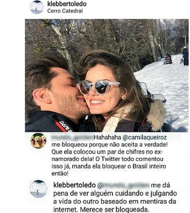 Klebber Toledo rebate críticas de internauta (Foto: Reprodução/Instagram)