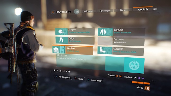 The Division: você pode alterar alterar a aparência do personagem com itens cosméticos (Foto: Reprodução/Victor Teixeira)