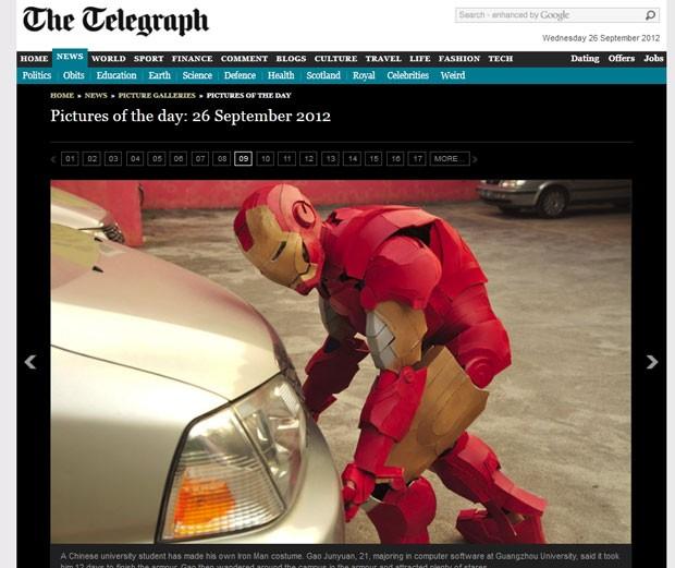 Gao Junyuan, de 21 anos, levou 12 dias para criar a armadura inspirada no 'Homem de Ferro'. (Foto: Reprodução/Daily Telegraph)