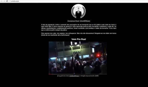 Site do PMDB é invadido por integrantes do movimento Anonymous. (Foto: Reprodução)