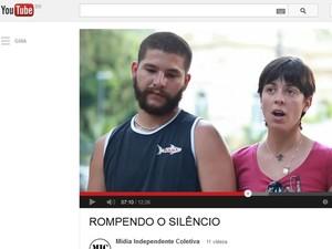 Sininho e Game Over em vídeo postado em que relatam ameaças sofridas por milicianos (Foto: Reprodução / YouTube)
