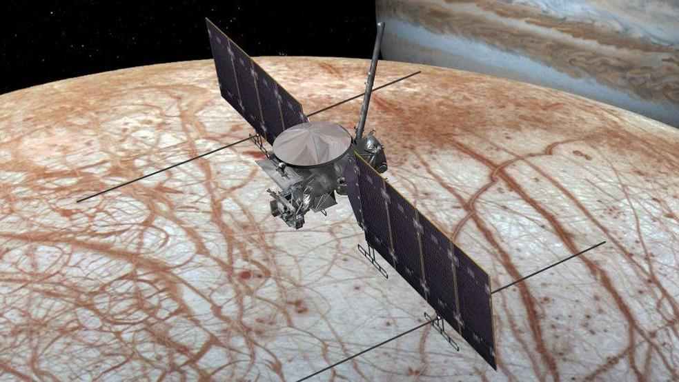 A sonda Clipper fará 45 'rasantes' na lua jupteriana em sua missão (Foto: NASA/JPL-Caltech )