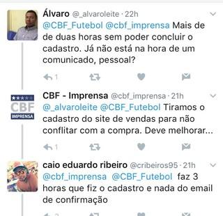 torcedores reclamam da venda de ingressos para brasil x paraguai (Foto: Reprodução Twitter)
