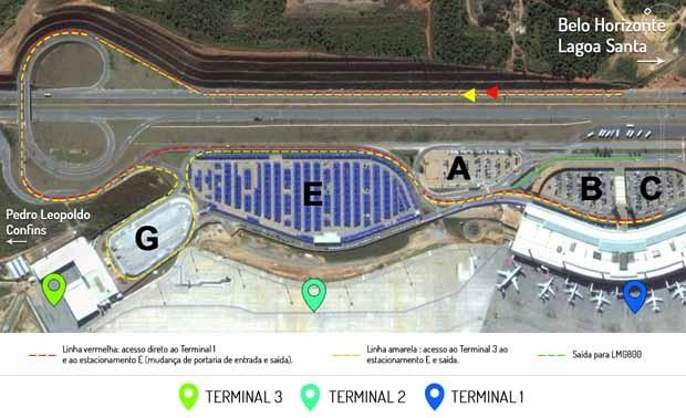 Acesso ao Terminal 1 foi interditado por causa de obra (Foto: BH Airport/Divulgação)