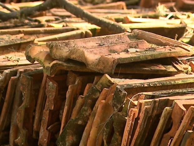 Telhas deveriam ser usadas em reforma, mas estão abandonadas em São Simão, SP (Foto: Ronaldo Gomes/EPTV)