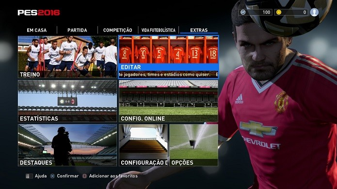 Acesse este menu do PES para editar suas equipes (Foto: Reprodução/Thiago Barros)