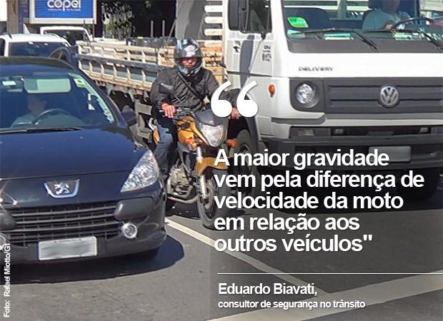 """Motos em corredor: """"A maior gravidade  vem pela diferença de velocidade da moto em relação aos outros veículos"""", diz Eduardo Biavati (Foto: Rafael Miotto/G1)"""