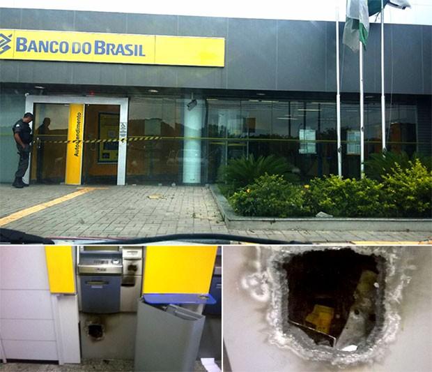 Segundo a PM, criminosos usaram maçarico para arrombar um dos terminais  (Foto: Divulgação/PM)