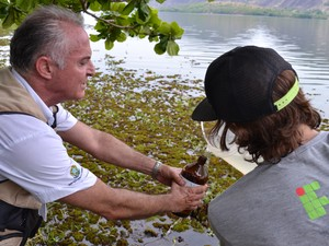 Alunos e professores recolheram amostras de água (Foto: Ingrid Castilho/ G1 ES)