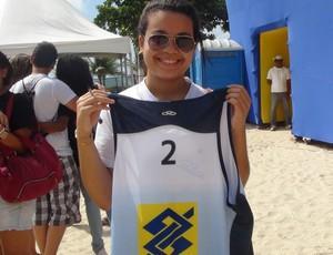 Jordana, fã do Ricardo Vôlei de praia (Foto: Viviane Leão/GloboEsporte.com)