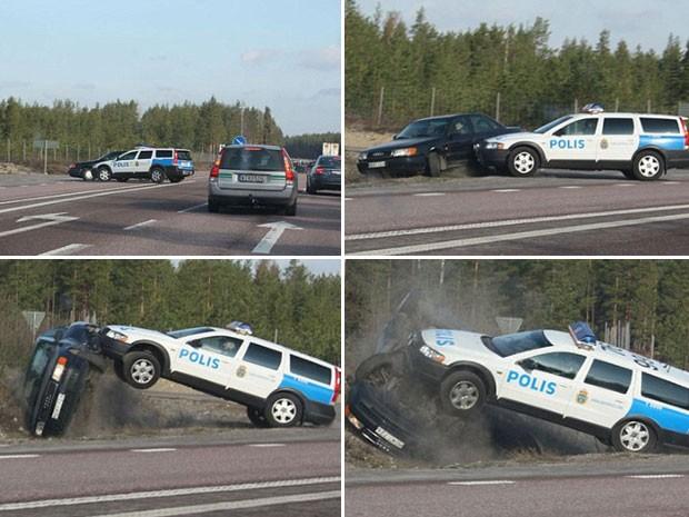 Policial jogou seu veículo contra o carro de um motorista que tentava fugir. (Foto: Reprodução)