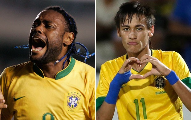 Montagem Vagner Love e Neymar (Foto: Editoria de Arte / Globoesporte.com)