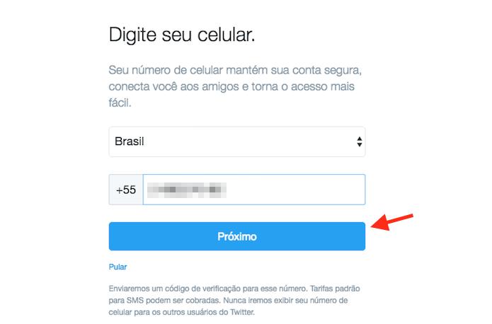 Definindo um número de celular que será integrado a nova conta do Twitter (Foto: Reprodução/Marvin Costa) (Foto: Definindo um número de celular que será integrado a nova conta do Twitter (Foto: Reprodução/Marvin Costa))