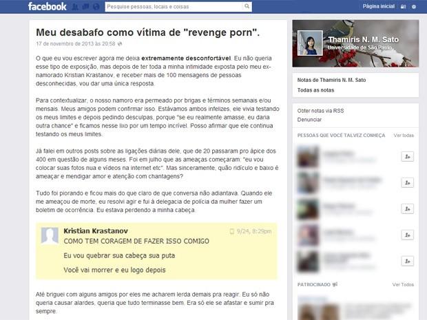 Jovem postou desabafo em rede social (Foto: Reprodução/Facebook)