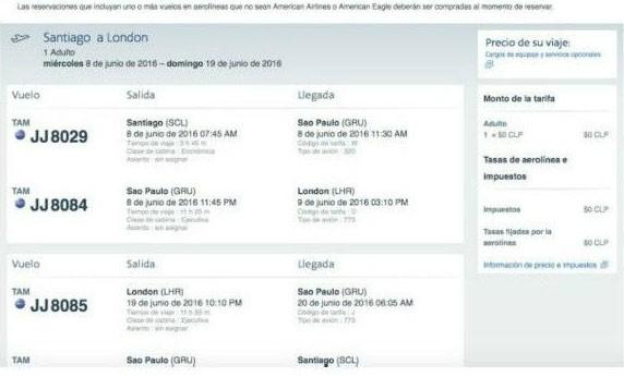 Tela mostra passagens da American Airlines de graça