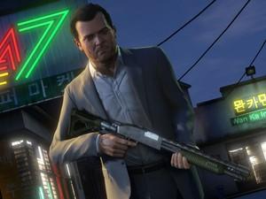 Michael em uma das missões do game 'GTA V' (Foto: Divulgação/Rockstar)