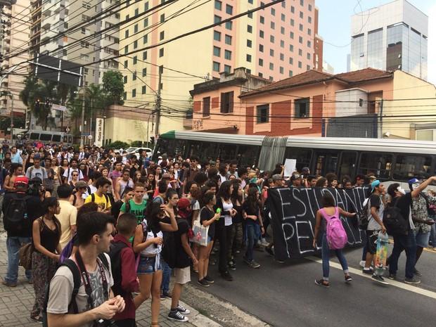 Estudantes protestam  contra máfia da merenda, em São Paulo (Foto: Roney Domingos/G1)