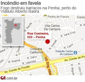 Incêndio Penha (Foto: Editoria de Arte/G1)