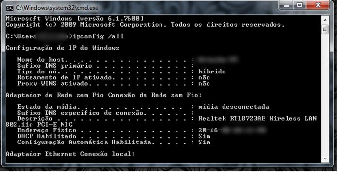 Comando identifica todas as informações da rede (Foto: Reprodução/Gabriel RIbeiro)