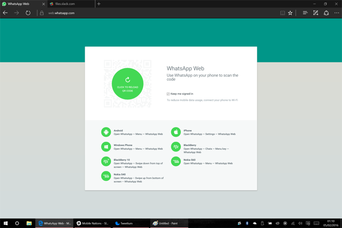 WhatsApp Web pode ser usado no Microsoft Edge (Foto: Reprodução/Windows Central)