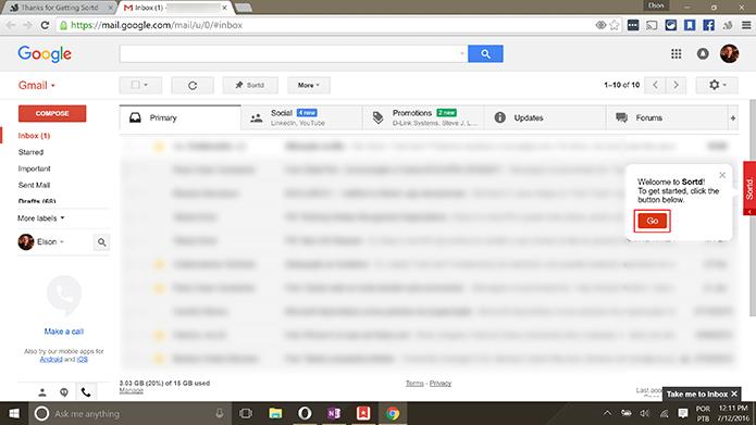 Sortd exibirá atalho na tela inicial do Gmail para que usuário mude para o app (Foto: reprodução/Elson de Souza)