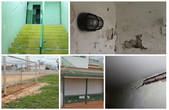estádio Petrolia, problemas  (Foto: Emerson Rocha)